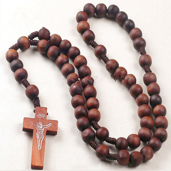 Christ Wooden Beads 8mm Rosary Long Chain Necklace