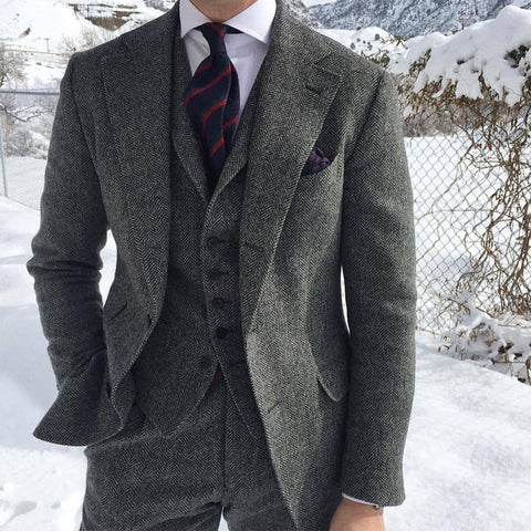 Gray Wool Men Suit
