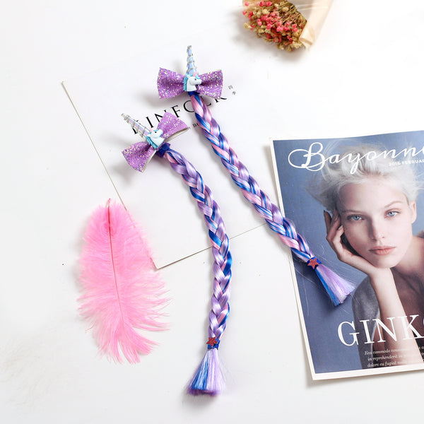 Unicorn Sequin Bow Braid Hairpins