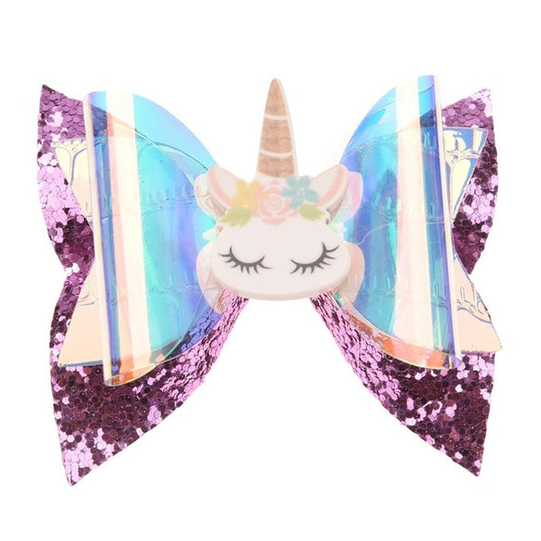 Unicorn Glitter Bow