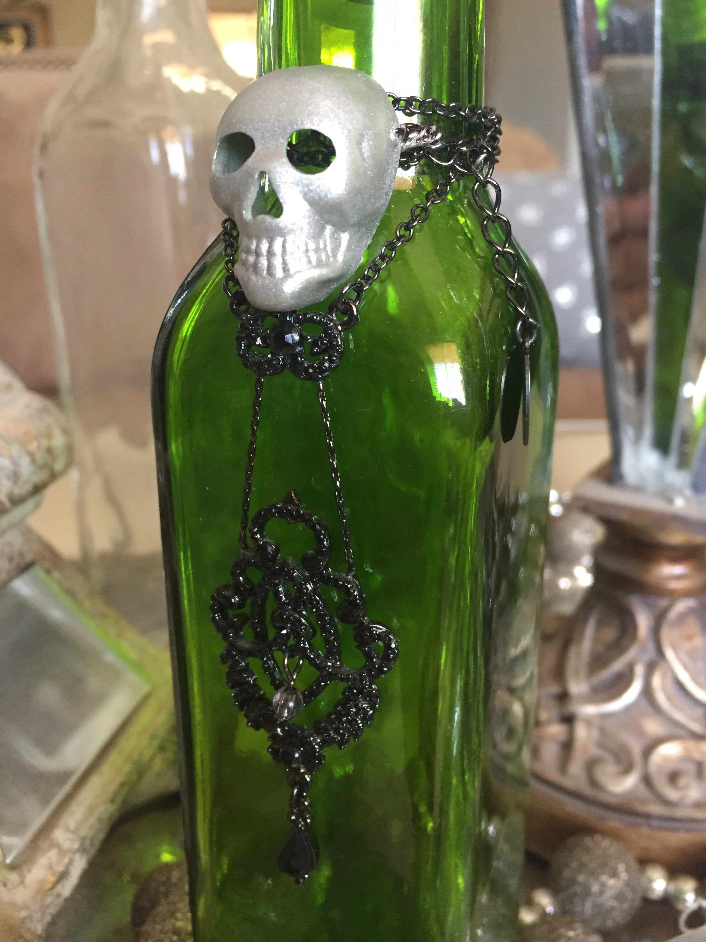 Green Skull Bottle with Crystal Topper