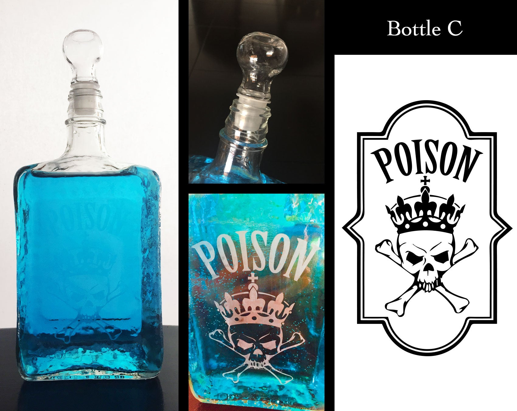 Etched Apothecary Glass Bottles