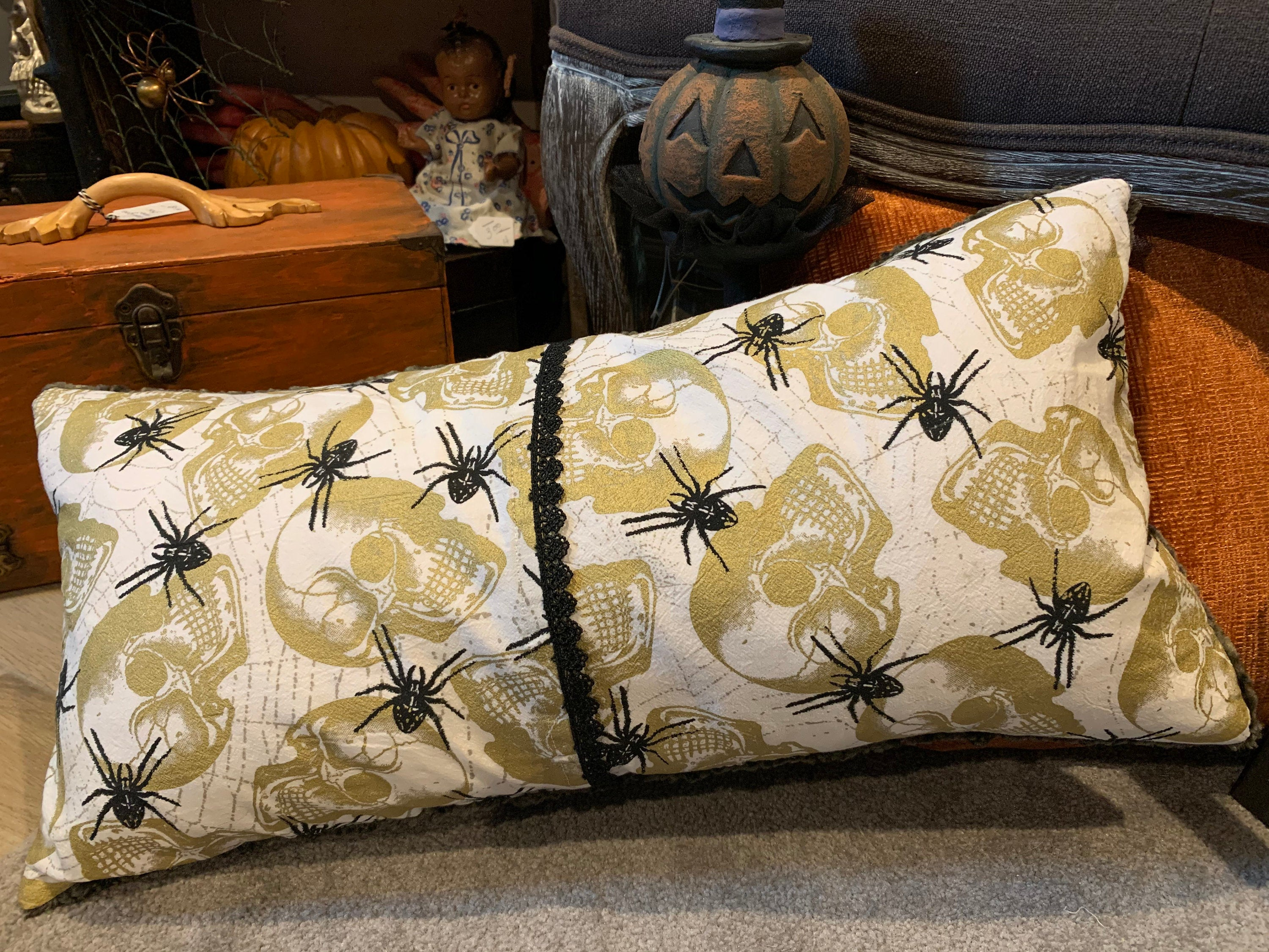 Skull and Spider Pillow