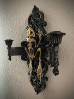 Mounted Golden Frog Skeleton Candle Sconce