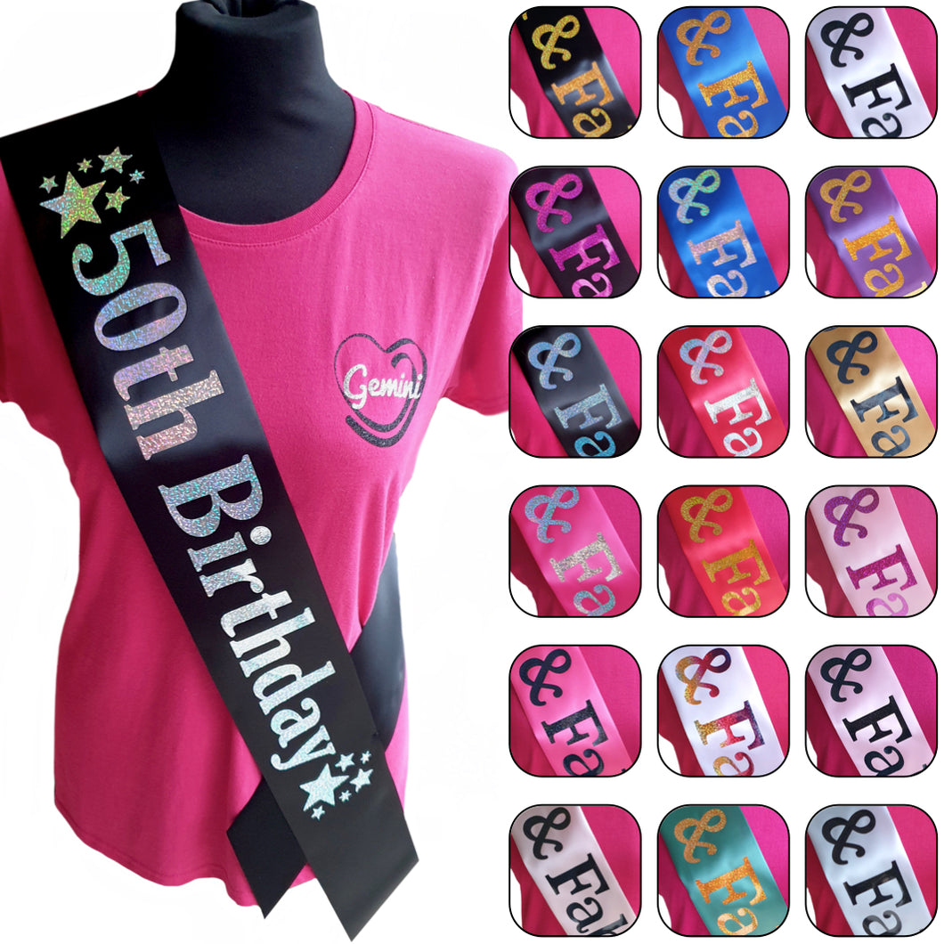 50th Birthday Holographic Star Sash
