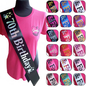 70th Birthday Holographic Star Sash