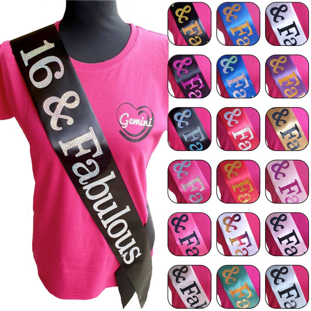 16 and Fabulous Holographic Birthday Sash