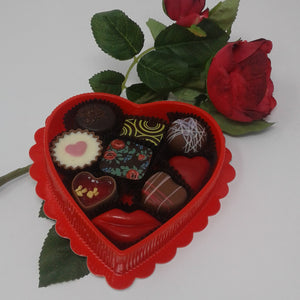 Collection of 9 Belgian Chocolates in Red Heart Box