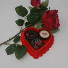 Load image into Gallery viewer, Collection of 3 Belgian Chocolates in Red Heart Box