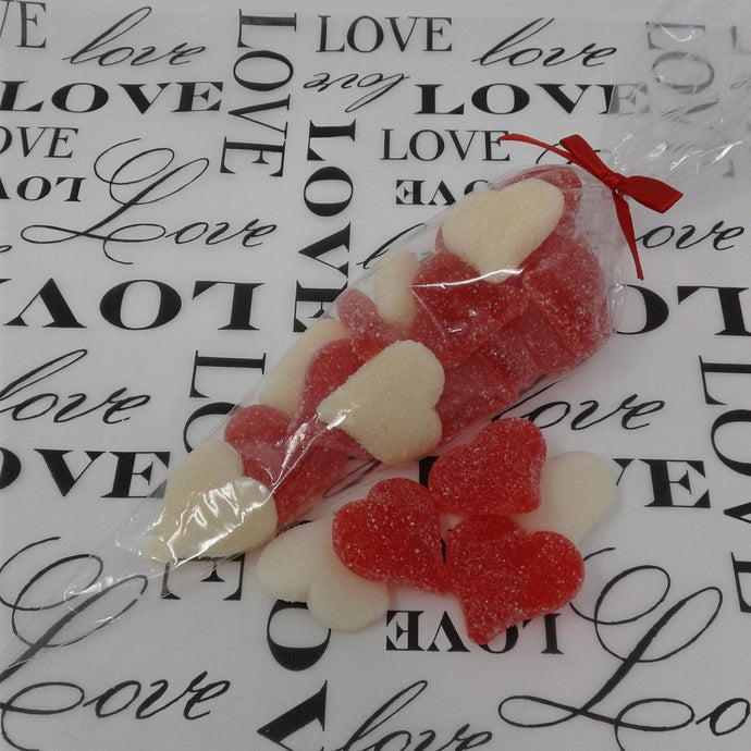 Sanded Red and White Valentine Gummi Hearts