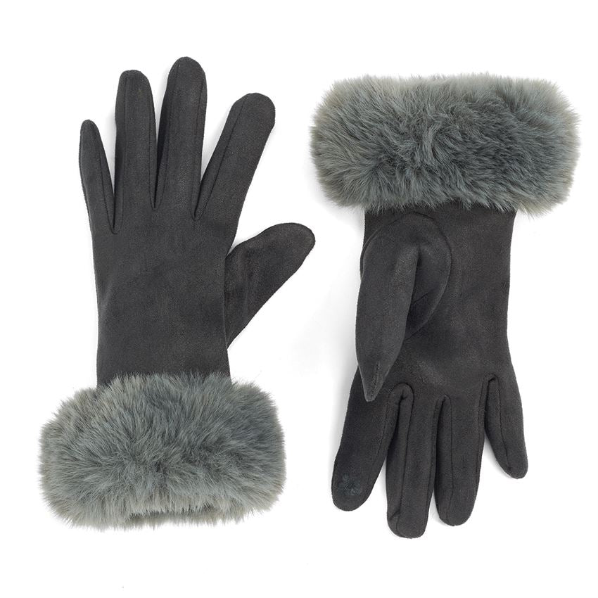 Fur Cuff Texting Gloves (Multiple Colors)