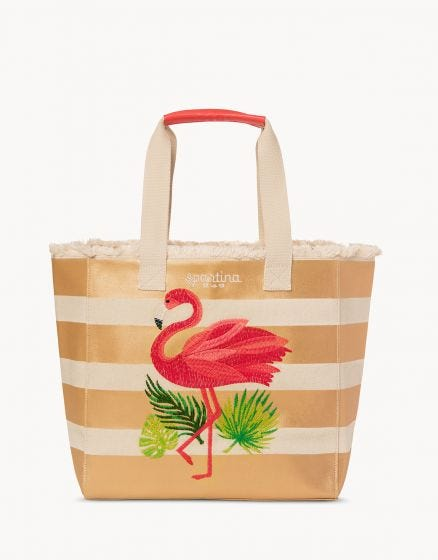 Flamingo Stripe Beach Tote