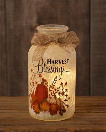 Frosted Glass Luminary - Harvest Blessings