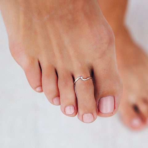 Silver Wave Toe Ring