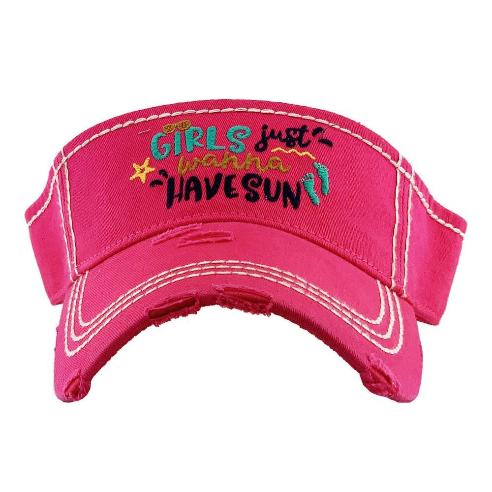 Girls Just Wanna Have Sun Hot Pink Visor