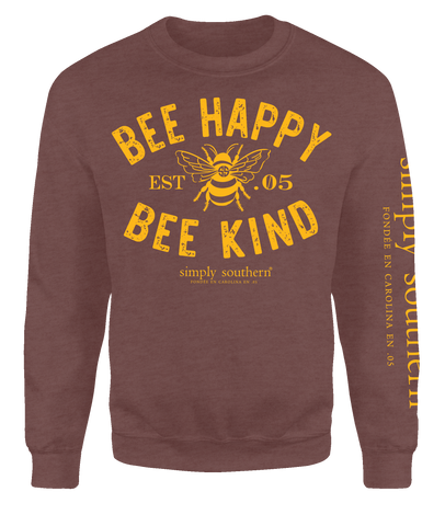 """Bee Happy, Bee Kind"" Crew Sweatshirt"