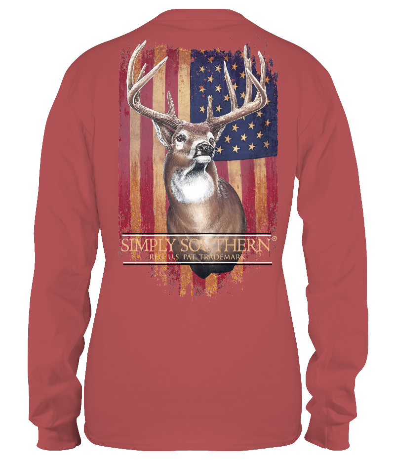 """Deer with Flag"" Long Sleeve Shirt"