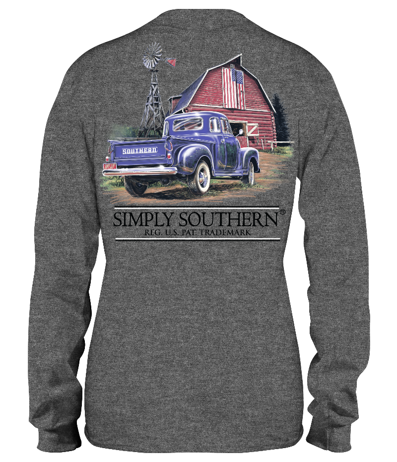 Blue Truck with Red Barn Long Sleeve Shirt