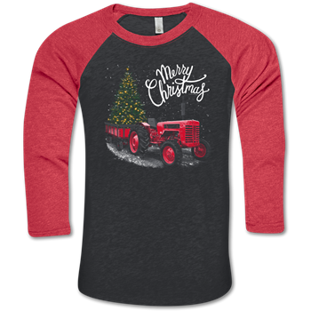 """Merry Christmas"" Red tractor with lighted tree"