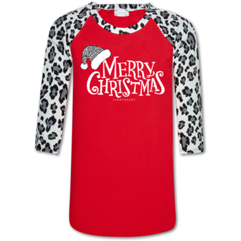 """Merry Christmas"" Snow Leopard Baseball Shirt"