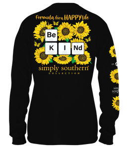 """Formula For A Happy Life, Be Kind"" Long Sleeve Shirt"
