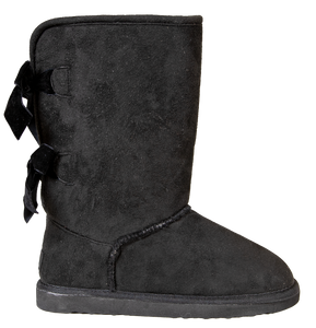 Bow Suede Boots (Black)
