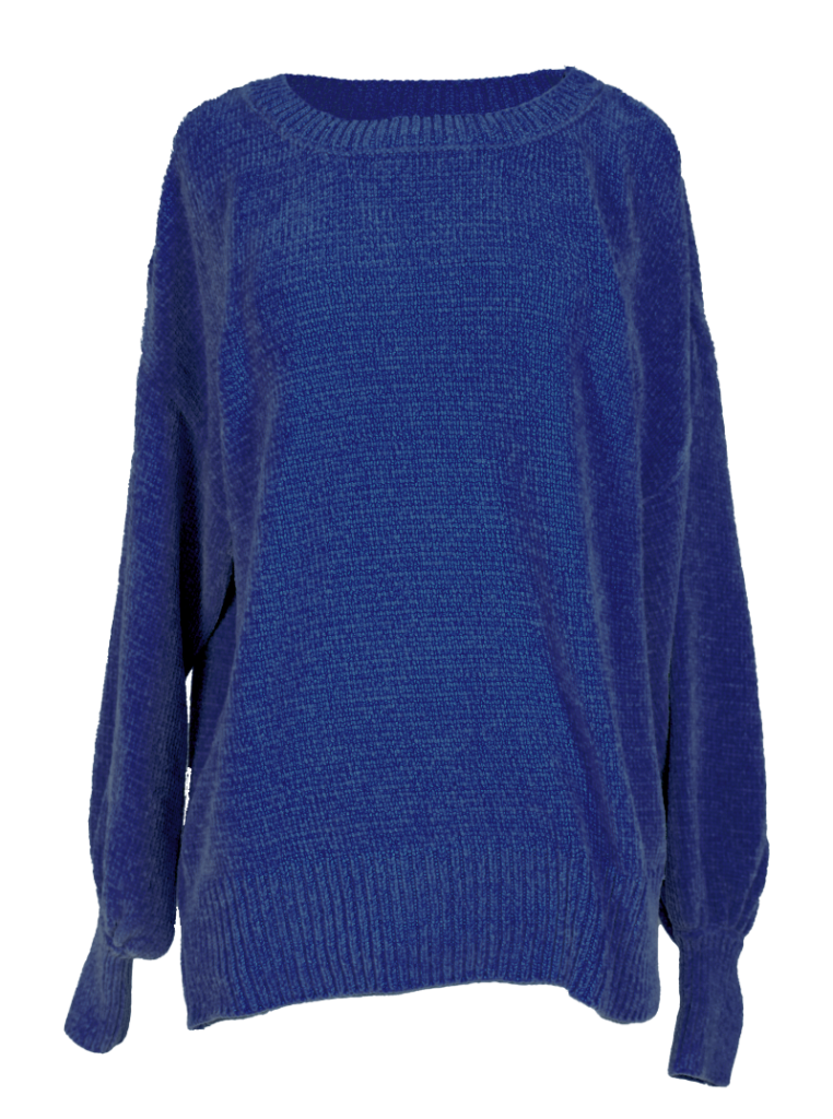 Chenille Sweater with Cold-Shoulder Bishop Sleeves