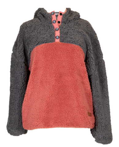 Pink and Gray Two-Tone Sherpa Hoodie