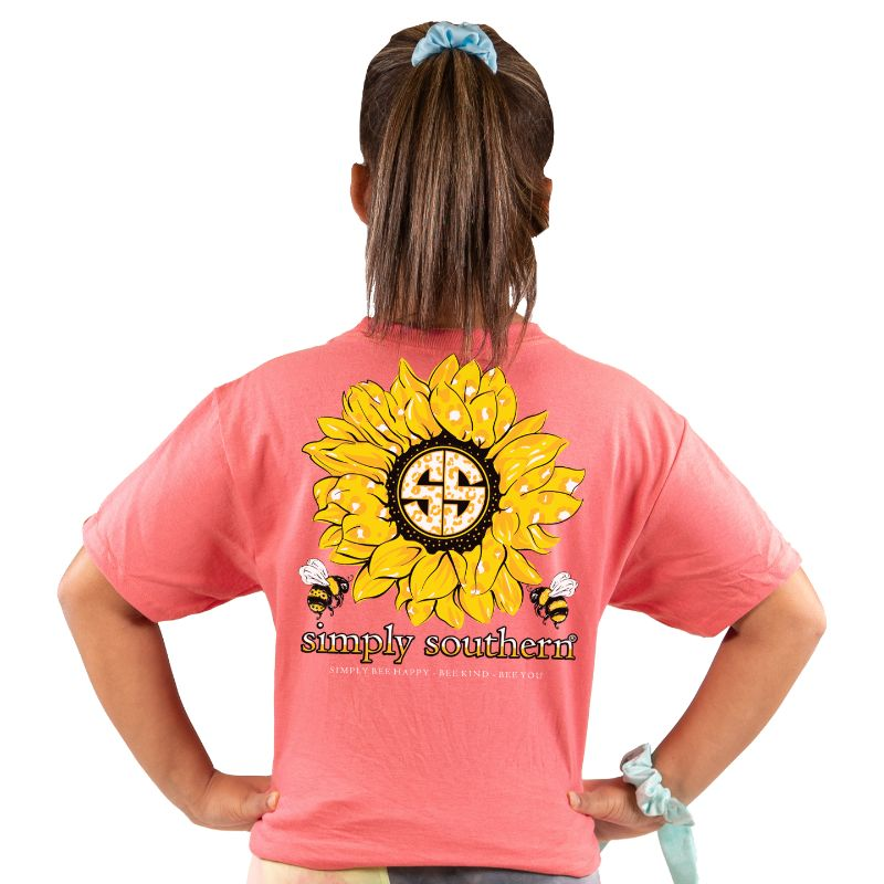 "Youth ""Simply Bee Happy, Bee Kind, Bee You"" Coral Shirt"