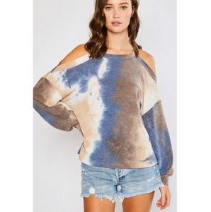Tie Dye Open Shoulder Top - Blue
