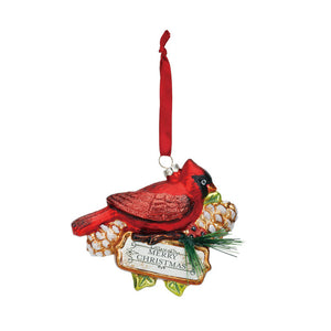 Blown Glass Cardinal Merry Christmas Ornament