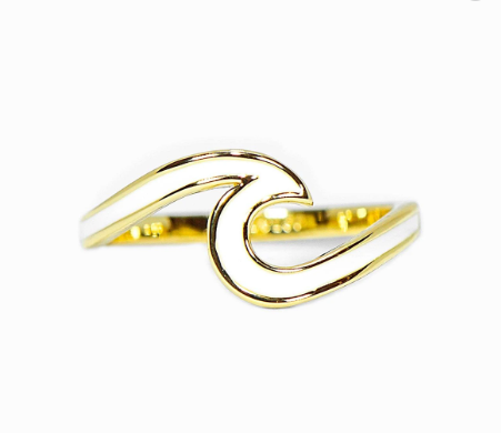 Gold Enamel Wave Ring