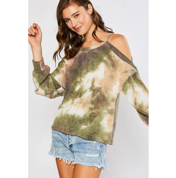 Tie Dye Open Shoulder Top - Green