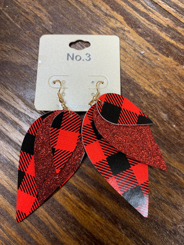 Red and Black Leaf Earrings