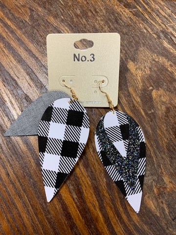 Black and White Leather Leaf Earrings