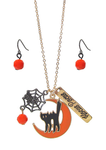 """Hocus Pocus"" Black Cat Necklace and Earring Set"