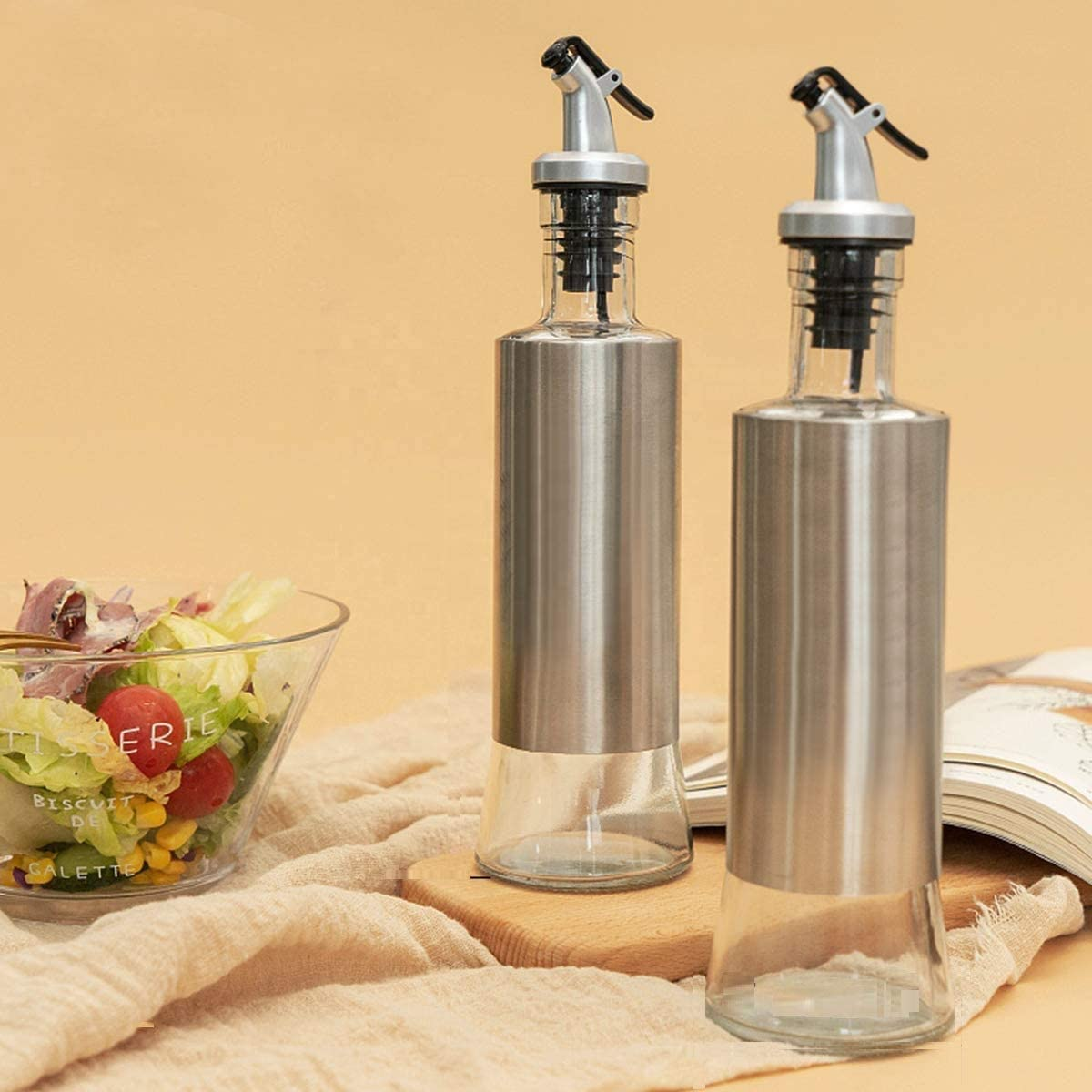 Assistant Oil Dispenser Stainless Steel Glass Bottle - Kitchen Assistant India