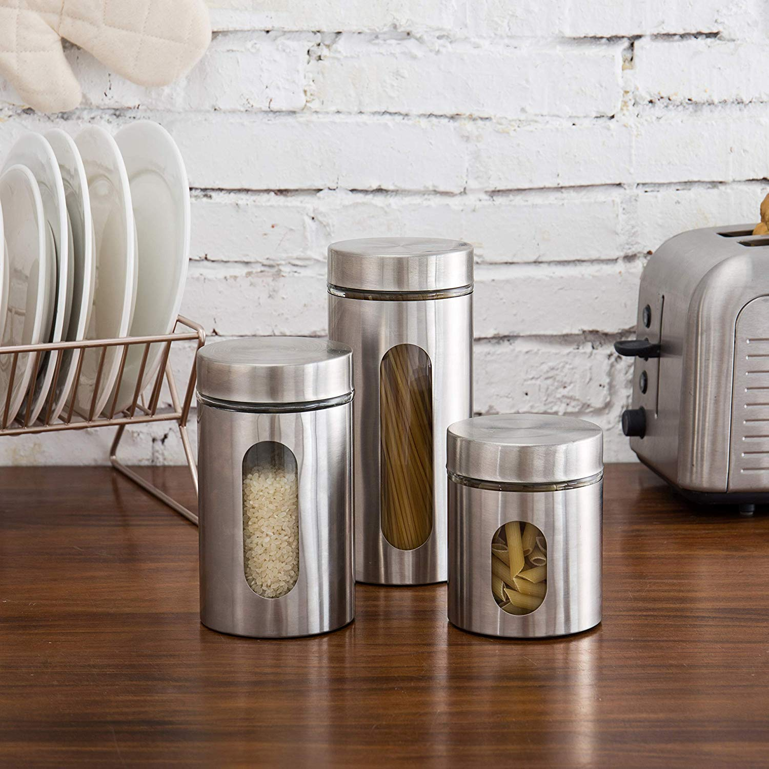 Stainless Steel Window Canister Jar