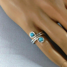 Load image into Gallery viewer, Sterling Silver Turquoise Adjustable Wire Wrap Finger Toe Ring