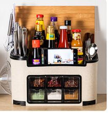 Load image into Gallery viewer, Fashion multi-functional kitchen shelf condiment box, condiment pot, bottle set combination knife holder one generation