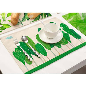 Cotton Linen Green Leaf Printed Table