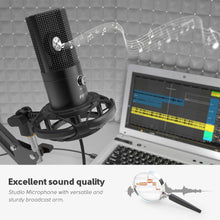 Load image into Gallery viewer, FIFINE Studio Condenser USB Computer Microphone Kit With Adjustable Scissor Arm Stand Shock Mount for YouTube Voice Overs-T669