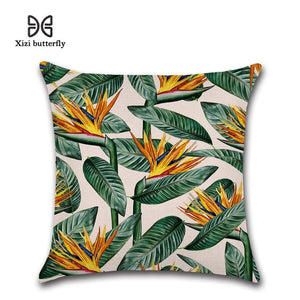 Tropical Plants Palm Leaf Green Leaves Monstera Hibiscus Cushion Covers