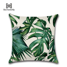 Load image into Gallery viewer, Tropical Plants Palm Leaf Green Leaves Monstera Hibiscus Cushion Covers