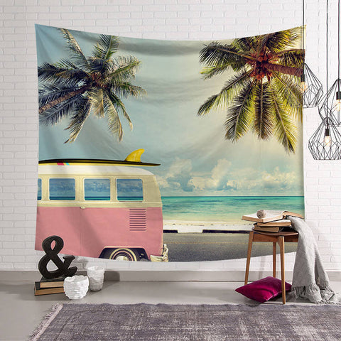 Beachside Surfer Van Tapestry
