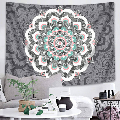 Grey Mandala Tapestry
