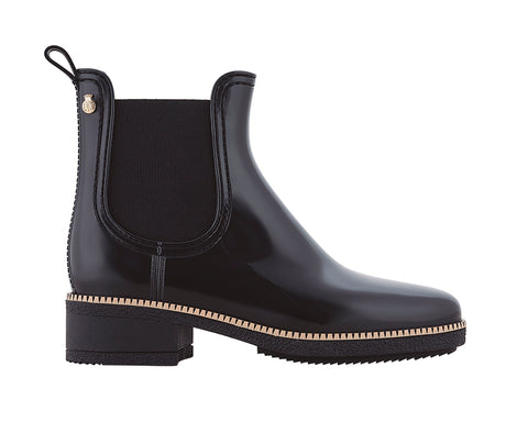 Ava slip on ankle height waterproof boot with classic square heel