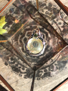 Glass Cab Wire Wrapped Pendant