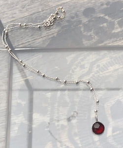Mozambique Garnet Solitaire necklace