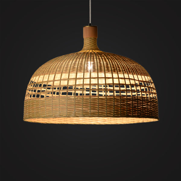 large bowl shape modern bamboo wood hanging lamp